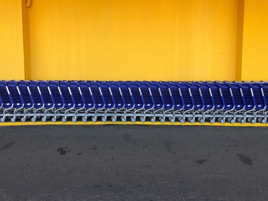 shopping carts in parking lot
