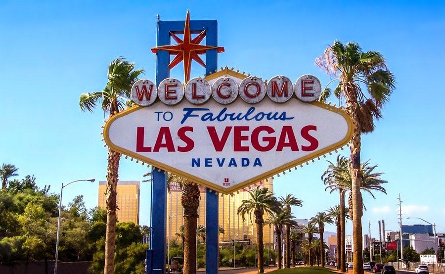 Welcome to Fabulous Las Vegas Nevada sign on bright sunny day