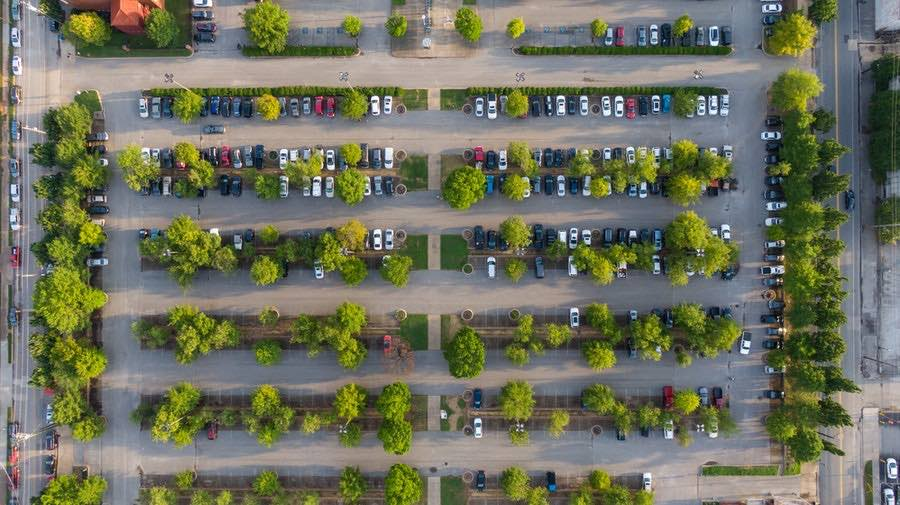 cars parked in store parking lot