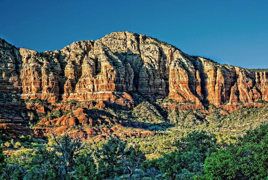 sunlight on the sedona mountains