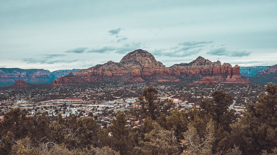 view overlooking Sedona with red rock canyons in the background