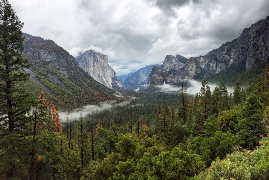view of yosemite valley in yosemite national park on a cloudy day