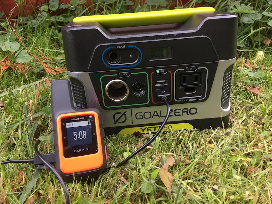 Goal Zero Yeti 150 charging Garmin inReach Mini
