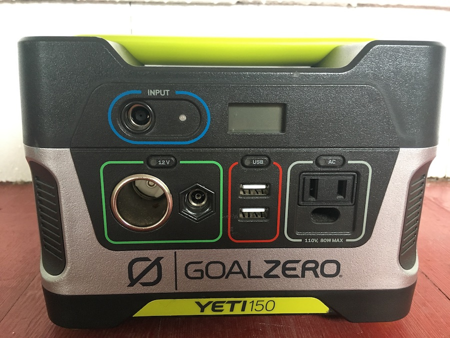 close up of Goal Zero Yeti 150 user interface and charging ports
